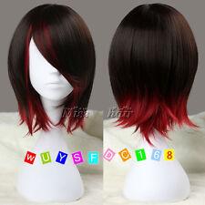 Ruby Corto Recto Peluca Marrón Oscuro Y Rojo sintéticas Anime Cosplay peluca