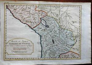 Peru & Bolivia Andes Mountains La Paz Lake Titicaca 1772 Bellin engraved map