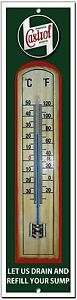 CASTROL LET US DRAIN YOUR SUMP METAL AND WOOD THERMOMETER.GARAGE,OIL