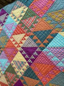THE COMPANY STORE Twin size reversible cotton patchwork quilt bedspread Bohemian