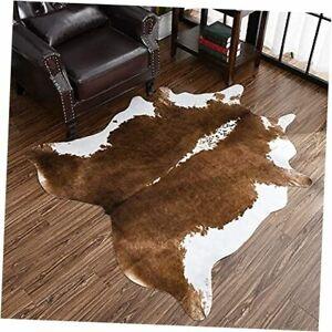 Cowhide Rug, Cute Cow Print Rug for Living Room Faux Cow 4.6 x 5.2 Feet Khaki