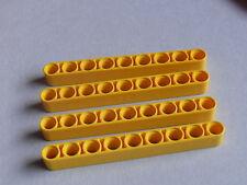 Lego 4 bras levier jaunes set 8453 9397 8942 8265 / 4 yellow liftarm 1 x 9 thick