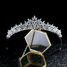 Tiara Set With AAA Cubic Zircnonias crown design Rhodium Plated