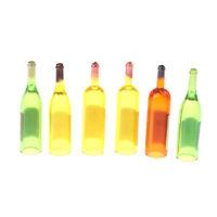 6 Flaschen Wein für 1:12 Puppenhaus Miniaturen Essen Trinken sf