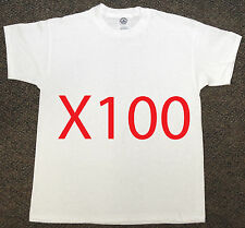 100 x NEW Delta Apparel Blank WHITE Youth T-SHIRT BULK LOT Boys/Girls Med/Large