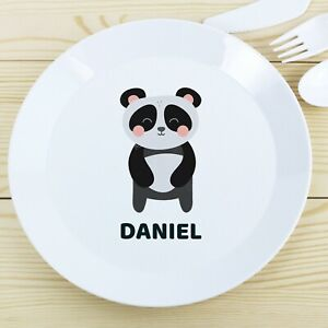 Personalised Panda Kids Plastic Plate Childrens Drop Proof Dinner Plates Gift