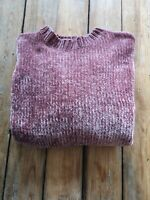 Pull And Bear Ladies Chenille Knit Jumper Dusky Pink Oversized Size S