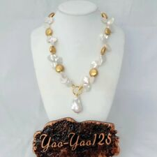 18'' White Keshi Pearl 24 K Gold Plated Coin Bead Necklace Keshi Pearl Pendant