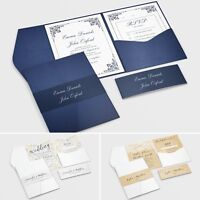 Pocketfold Wedding Invitations with RSVP and Info Cards + FREE Envelopes #078