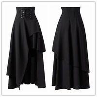 Women's Gothic Lolita Black Bandage Long Skirt Party Prom Cocktail Club Dress