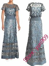 Tadashi Shoji Steel Blue Sequin Topped Illusion Formal Gown Dress Size 10