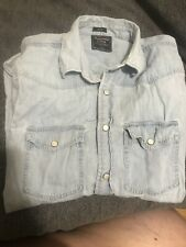 Abercrombie & FItch Denim Shirt Ling Sleeve Size SLIM LARGE SNAP BUTTON