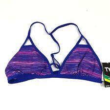 TYR Womens Bikini Swim Top Colorful Strappy UPF 50+ Blue Pink Size XL