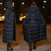 CHIC Women's Noble Clothes Over Knee Coat Duck Down Jacket Fur Hood Outwear Warm