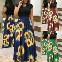 Women Summer Short Sleeve Sunflower Print Sundress Casual Swing Dress Maxi Dress