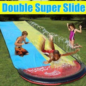 Double Surf WaterSlide Children Summer Lawn Slides Outdoor Garden Backyard Fun