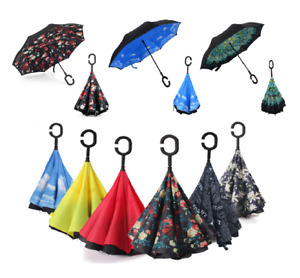 New Double Layer C-Handle Upside Down Waterproof Reverse Umbrella Colourfull