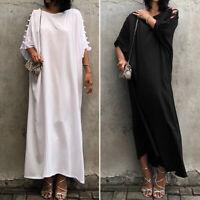 VONDA Women Baggy Oversize Plain Crew Neck Batwing Sleeve Kaftan Long Maxi Dress