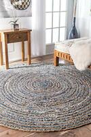 "5 X 5""Braided Rug Round Denim Jute Floor Mat Handmade Reversible Indian Area Rug"