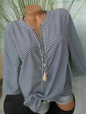 Paola Bluse Shirt Lagenshirt Gr 46 bis 60 Übergröße weiß blau (121)