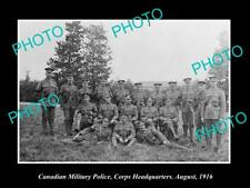 OLD LARGE HISTORIC PHOTO OF CANADIAN ARMY MILITARY POLICE GROUP, c1916