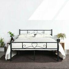 Modern Full Size Metal Bed Frame Mattress Foundation Platform with Headboard