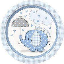 Baby Shower Boy Umbrella Elephant Blue Party Supplies Paper Plates Large 8pk