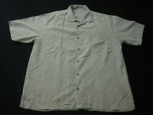 Tommy Bahama Mens 100% Silk Hawaiian Button Up Camp Shirt Green Size Large