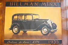 1935 The Hillman Minx Original Super Large Car Poster