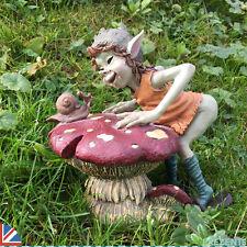 FOLLETTO SU FUNGO CON LUMACA Decorazione Giardino Scultura all'aperto Elfo Goblin 39100