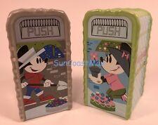 2017 Disney Flower & Garden Mickey & Minnie Trash Can Salt & Pepper Shaker Set