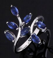 Size 6,7,8,9,10 Blue Sapphire 18K Gold Filled Filled Wedding Woman's Ring Halo
