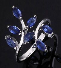 Women's Size 10 Halo Blue Sapphire 10KT Gold Filled Wedding Engagement Ring Gift