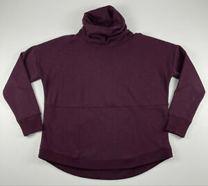 Athleta Cozy Karma Pullover Sweatshirt Turtleneck Maroon Fleece Lined Sz Medium