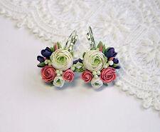 Flower cute Floral EARRINGS artisan polymer clay pretty Bridal Wedding HANDMADE