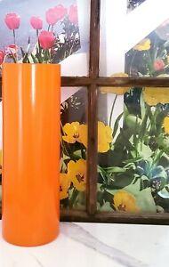 Tall Orange Glass Vase 16 inch/Hand Painted Orange Floor Vase