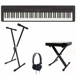 Yamaha P45 Digital Piano Bundle, 88 Full Size Keys, Black