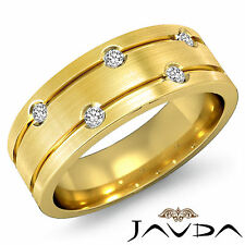 Half Wedding Band 18k Yellow Gold 5 Stone Round Diamond Mens Solid Ring 0.55Ct