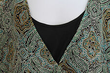 Zoey Beth Plus Ruffled Sheer Blue Green Black Blouse Top 2X boho
