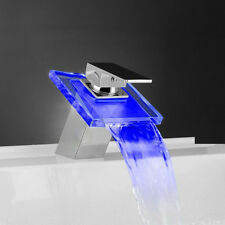 Waterfall LED Faucet Bathroom Glass Basin Mixer Tap Vanity Faucets Hot/Cold Taps