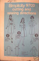 Vintage Simplicity Pattern 1970's Dress 12 SEWING