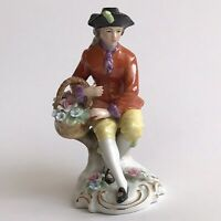 CAPODIMONTE Porcelain 18th-Centrury Costume Man Figurine Picking-Up Flowers MINT