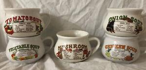 (5)Vintage DAT'L DO-IT, INC. Chicken & Vegetable Soup Ceramic Recipe Mugs/ Bowls