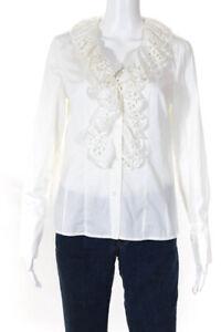 Escada Womens Embroidered Ruffled Trim Button Front Shirt White Cotton EU 36