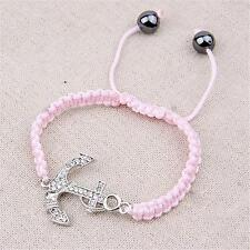 Silver Plated Crystal Anchor Bracelet Pink Rope Shamballa Nautical Sea Ship Boat
