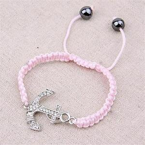 Silver Pink Crystal Nautical Anchor Bracelet Rope Sea Ship Boat Plated