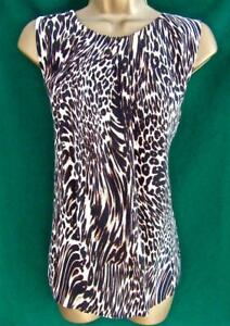 New M&S Collection UK12 Brown Animal Print Work Day-to-Evening Camisole Vest Top