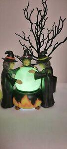 Halloween Witch Trio LIGHT UP Cauldron Swirling Green Brew Snow Globe Figurine