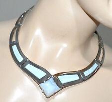 COLLANA ARGENTO donna pietra grigio girocollo rigido collarino collier colar G5