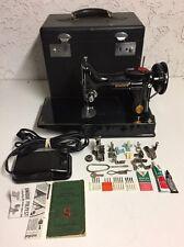 Vintage 1946 Singer Featherweight 221-1 Black Mechanical Sewing Machine w/ Case